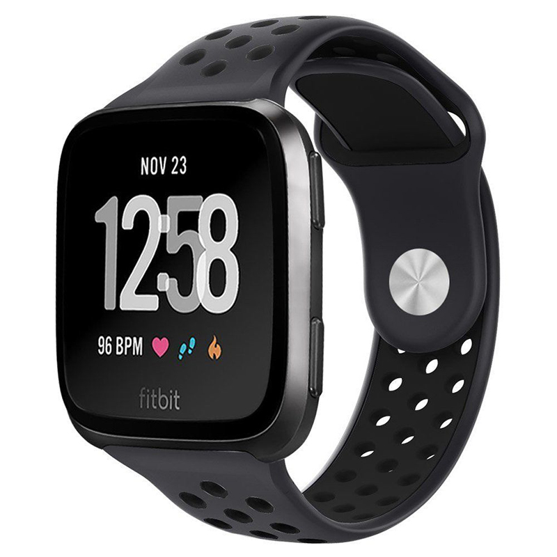 Unisex Soft Silicone 2-colour Replacement Watch Strap Watchband for Fitbit Versa Pretty Bracelet Ornament Dark gray + black