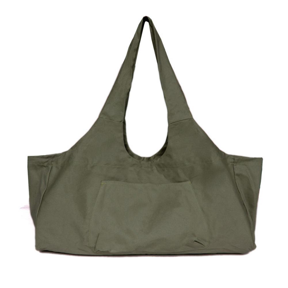Large Capacity Canvas Yoga Bag Fitness Body One-shoulder Yoga Ma Dancing Clothes Storage Bag ArmyGreen