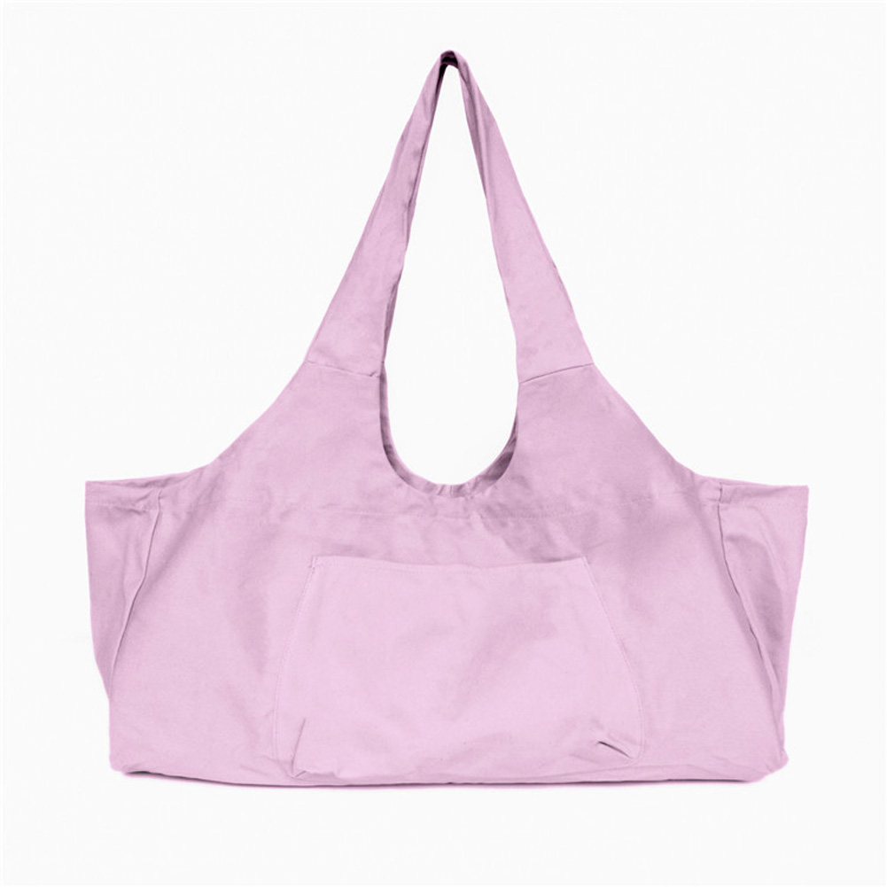 Large Capacity Canvas Yoga Bag Fitness Body One-shoulder Yoga Ma Dancing Clothes Storage Bag Pink