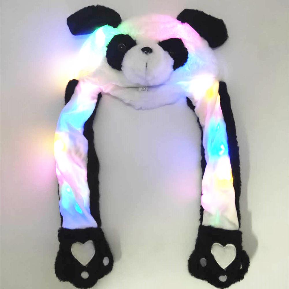Lighting Lovely Cartoon Jumping Animal Ears Soft Plush Hat Air Bladder Cap Panda 2