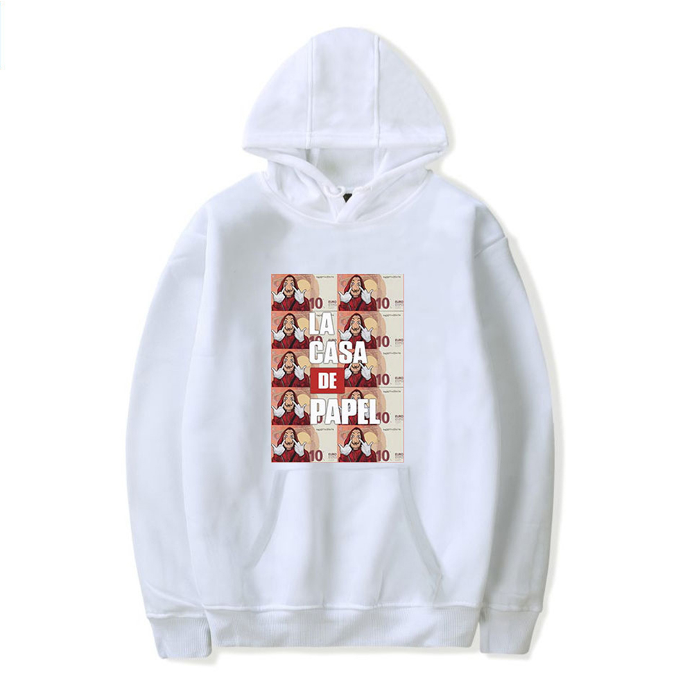 Long Sleeves Hoodie Loose Sweater Pullover with Unique Pattern Decor for Man and Woman White B_M