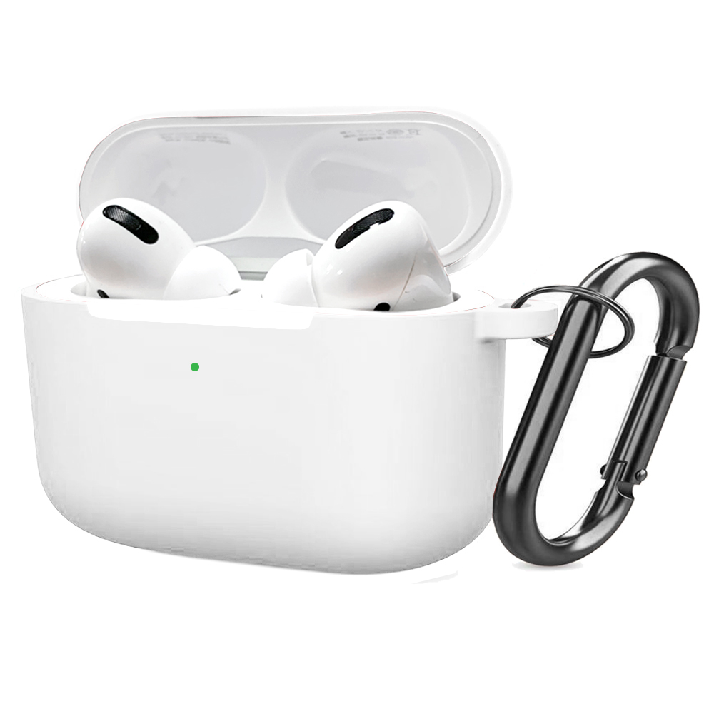 Soft Silicone Case for Airpods Pro Shockproof Hook Protective Bags With Keychain Earbuds Cover white