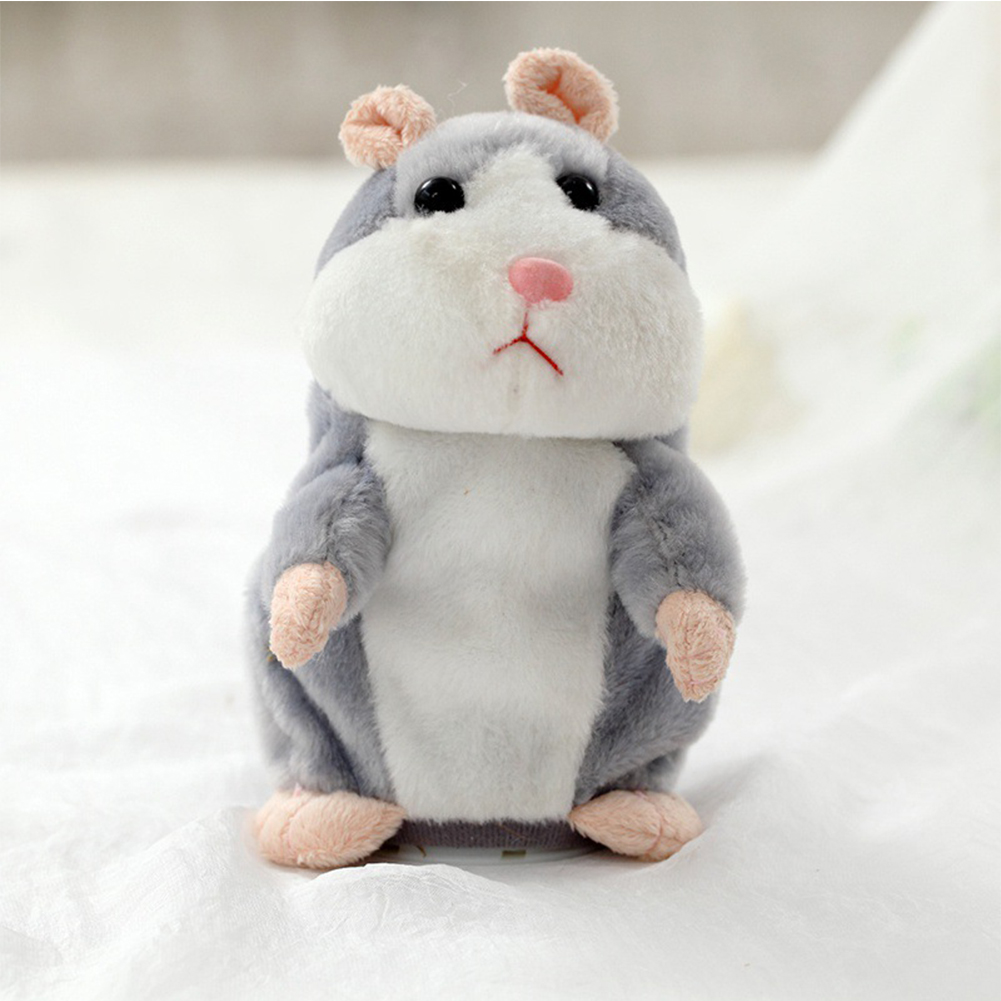 [Indonesia Direct] Lovely Talking Plush Hamster Toy, Can Change Voice, Record Sounds, Nod Head or Walk, Early Education for Baby, Different Size for Choice