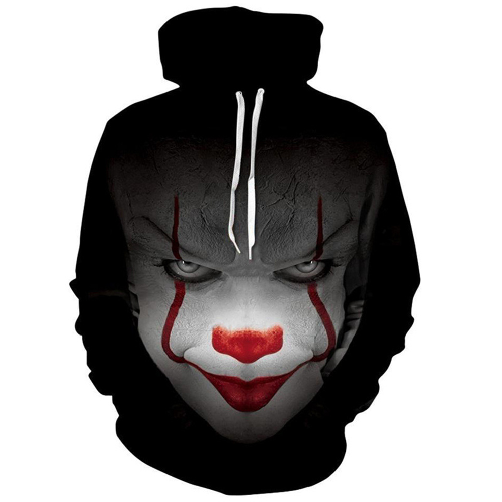 Unisex 3D Digital Clown Print Hooded Baseball Sweatshirts Fashion Pullover Tops black_L
