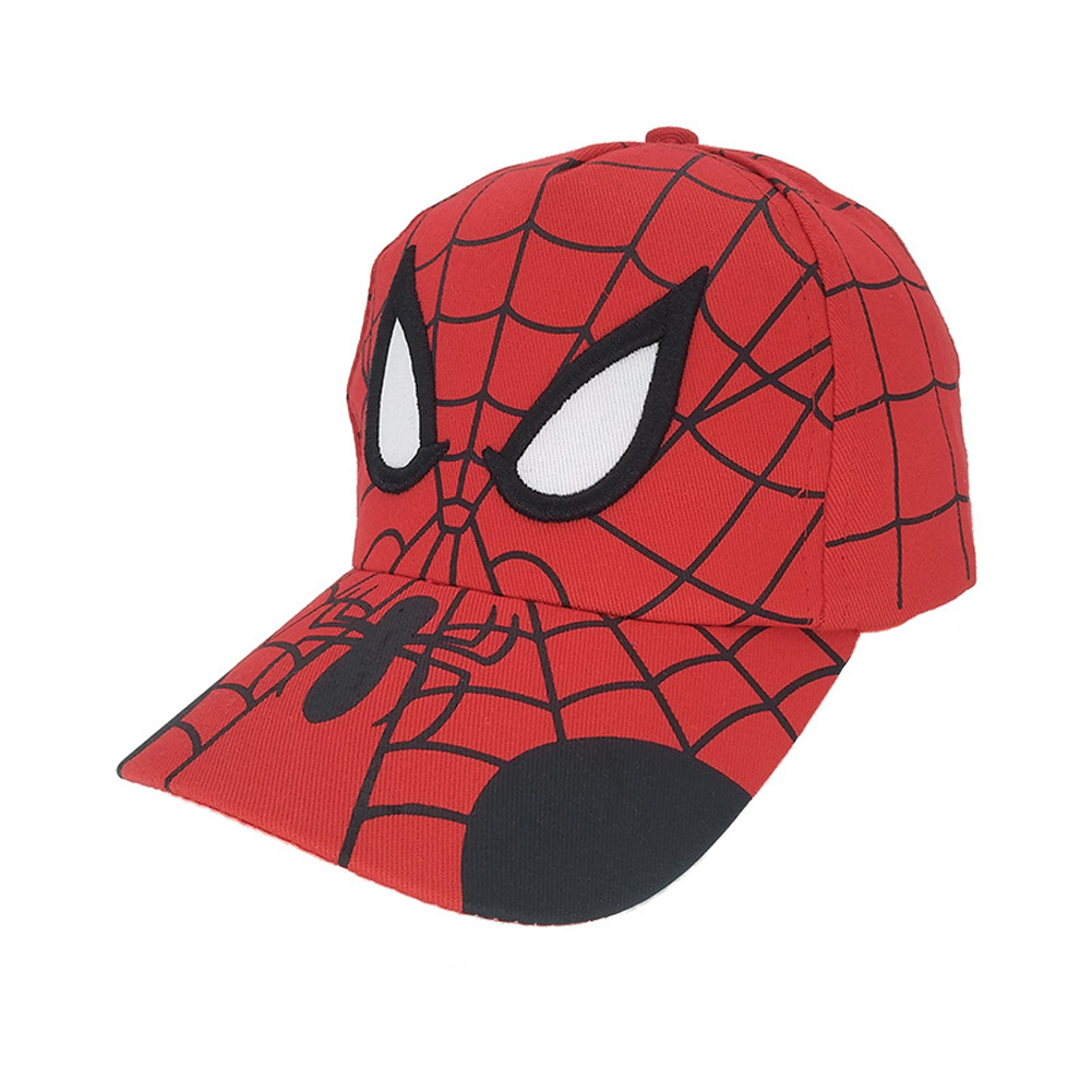Children Youth Spider Man Cotton Cartoon Baseball Cap Outdoor Leisure Sun Protection Hat All red_Cloth cap