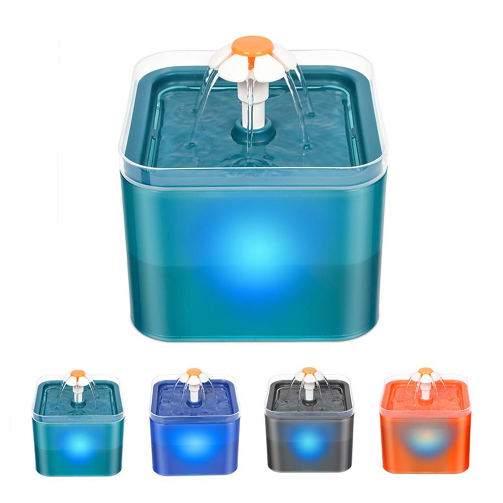 1 Plastic New Translucent Macaron Color Silent Pet Water Dispenser blue_European regulations