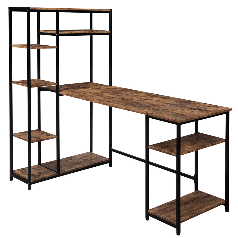 [US Direct] Computer  Desk With Multiple Storage Shelves Modern Large Table For Home Office Brown