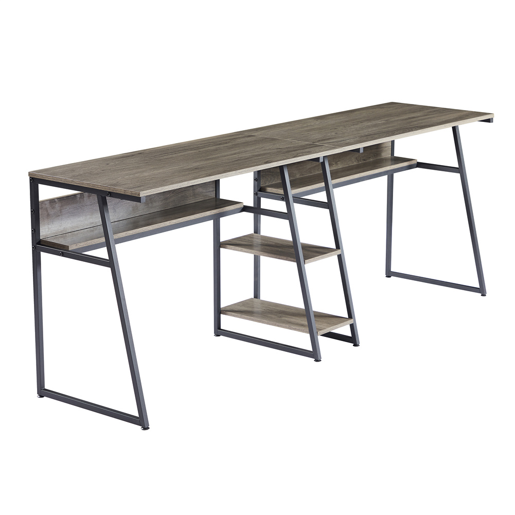 [US Direct] Two  Person  Desk With Open Bookshelf + Storage Shelf Home Office Rustic Writing Desk Workstation (Gray brown)