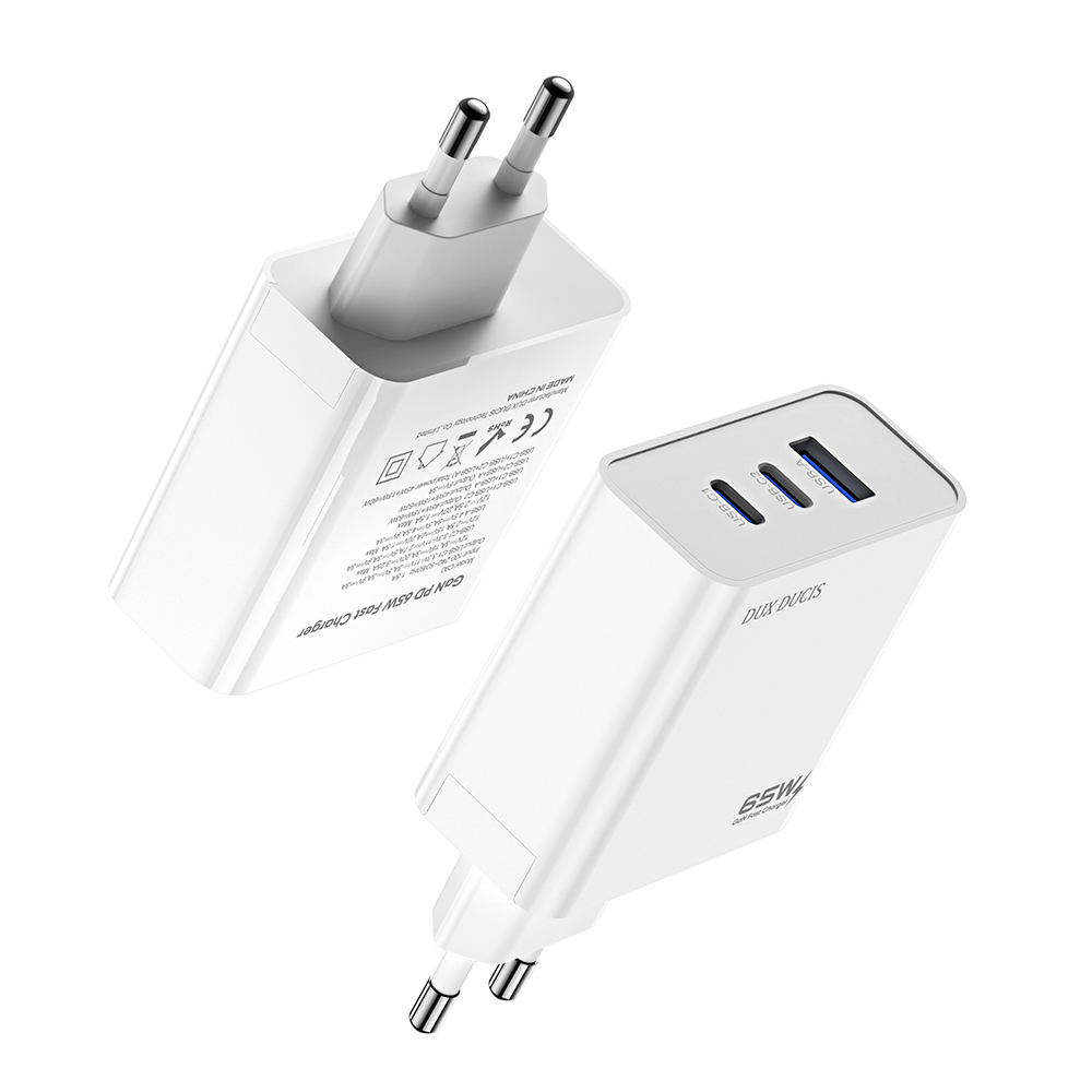 3-port High-power Gan 65w Fast Charging Head For Tablet Notebooks European Plug White