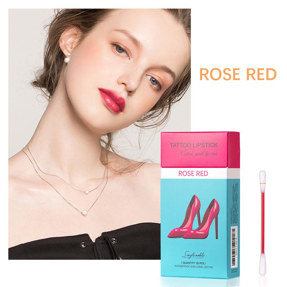 20  Pcs/box  Cotton  Swab  Lip  Glaze Lip Stain Waterproof Long-lasting Non-stick Cup Lipstick 3#rose red