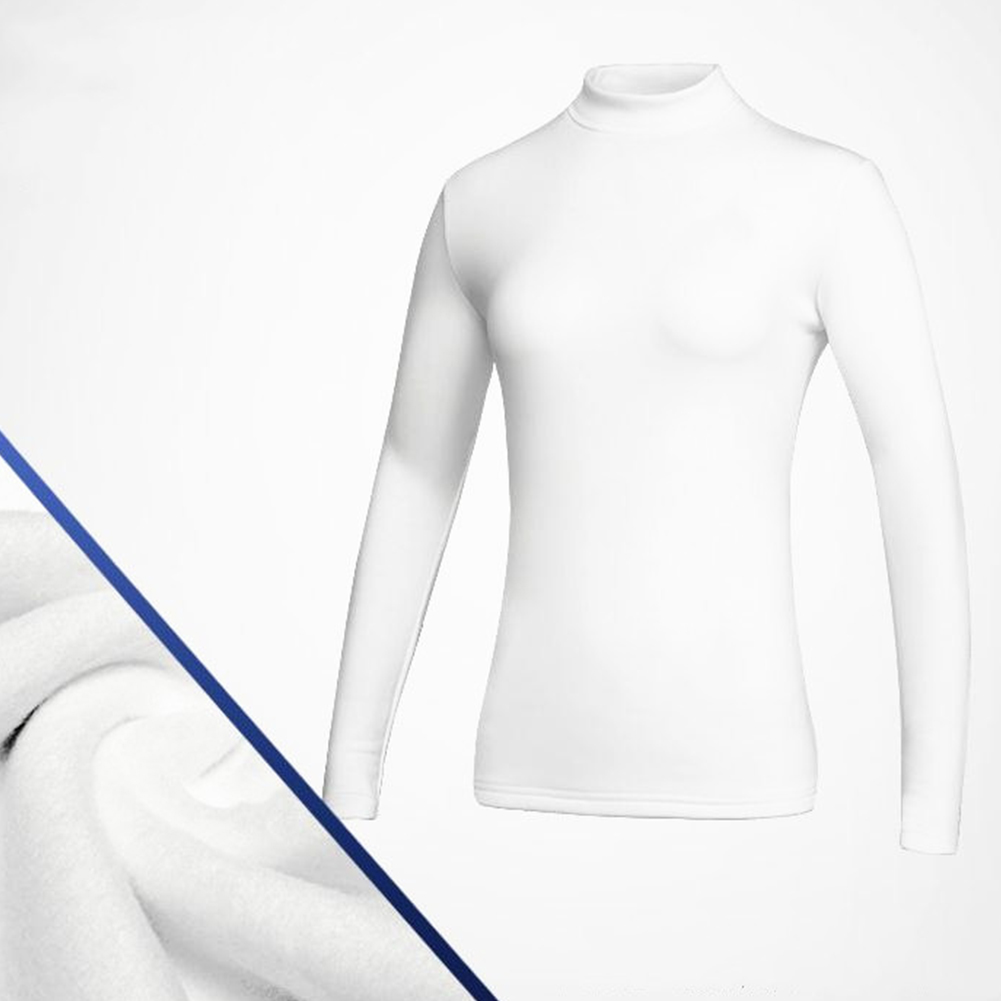 Simier Long Sleeve Golf Clothes for Women Base Shirt white_M