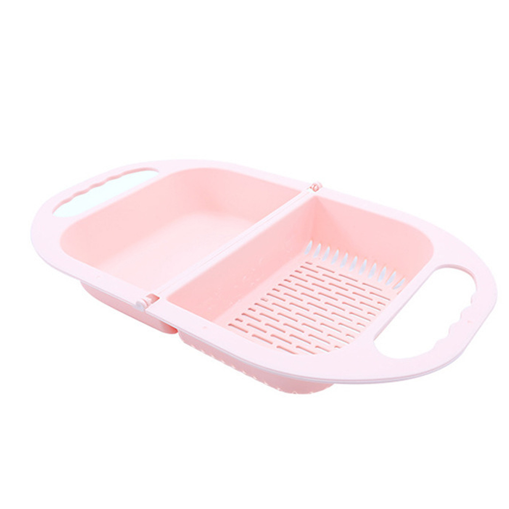 Folding Hanging Drain Basket Home Multifunction Washer for Vegetable Fruit Washing Nordic pink