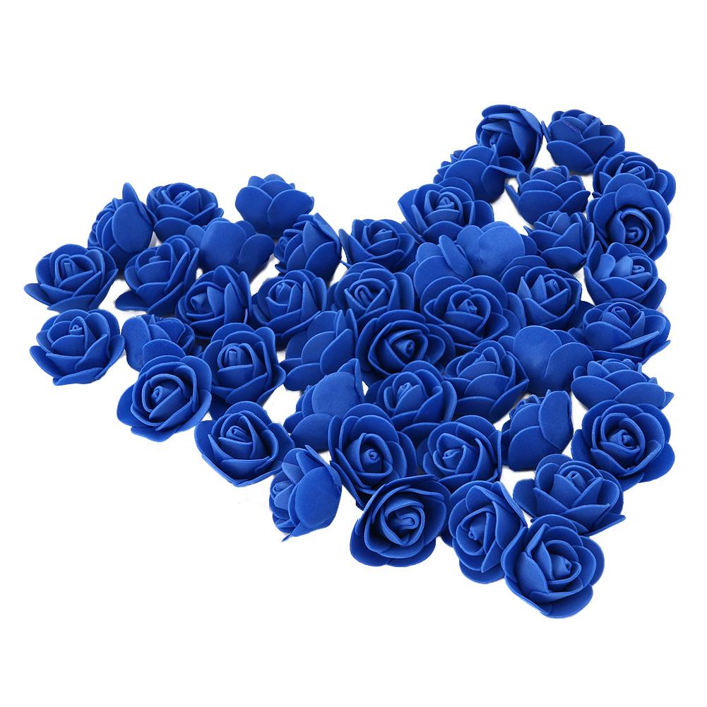 [EU Direct] Artificial Rose Decoration Bridal Hair Decorative Beautiful Bridal Bouquet Bouquets Wedding Home Party(50PCs 3CM, Royal Blue)