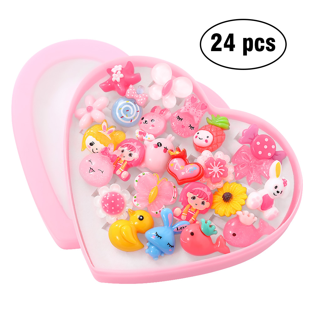 [EU Direct] Kids Assorted Cute Resin Acrylic Cartoon Rings Toy with Plastic Storage Box Party Favors Girls Gift (Style Random)