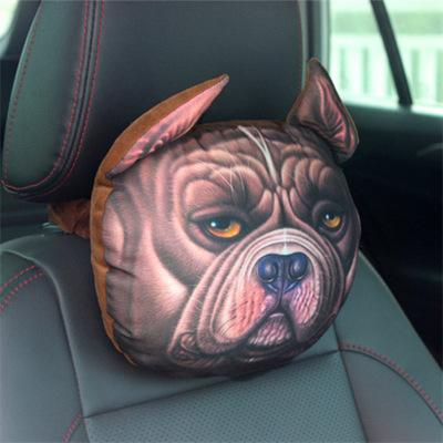 Plush  Car  Headrest Dog Pattern Black Husky Bully Dog 3d Cartoon Personality Creative Seat Neck Pillow Bully