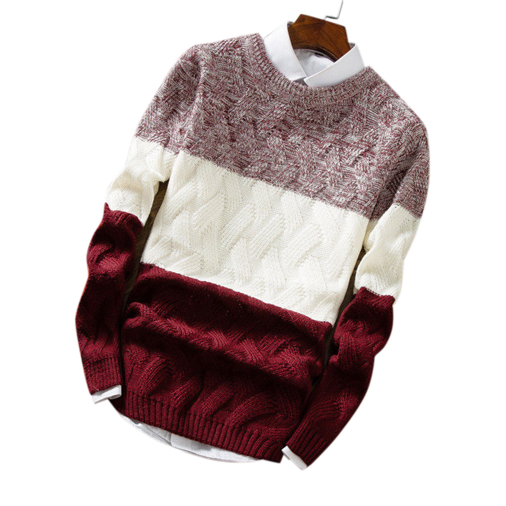 Unisex Knitted Thin Type Sweater Round Neck Pullover Warm Sweater Tops Red wine_L