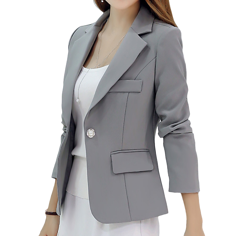 Women Fashion Slim Solid Color Jacket