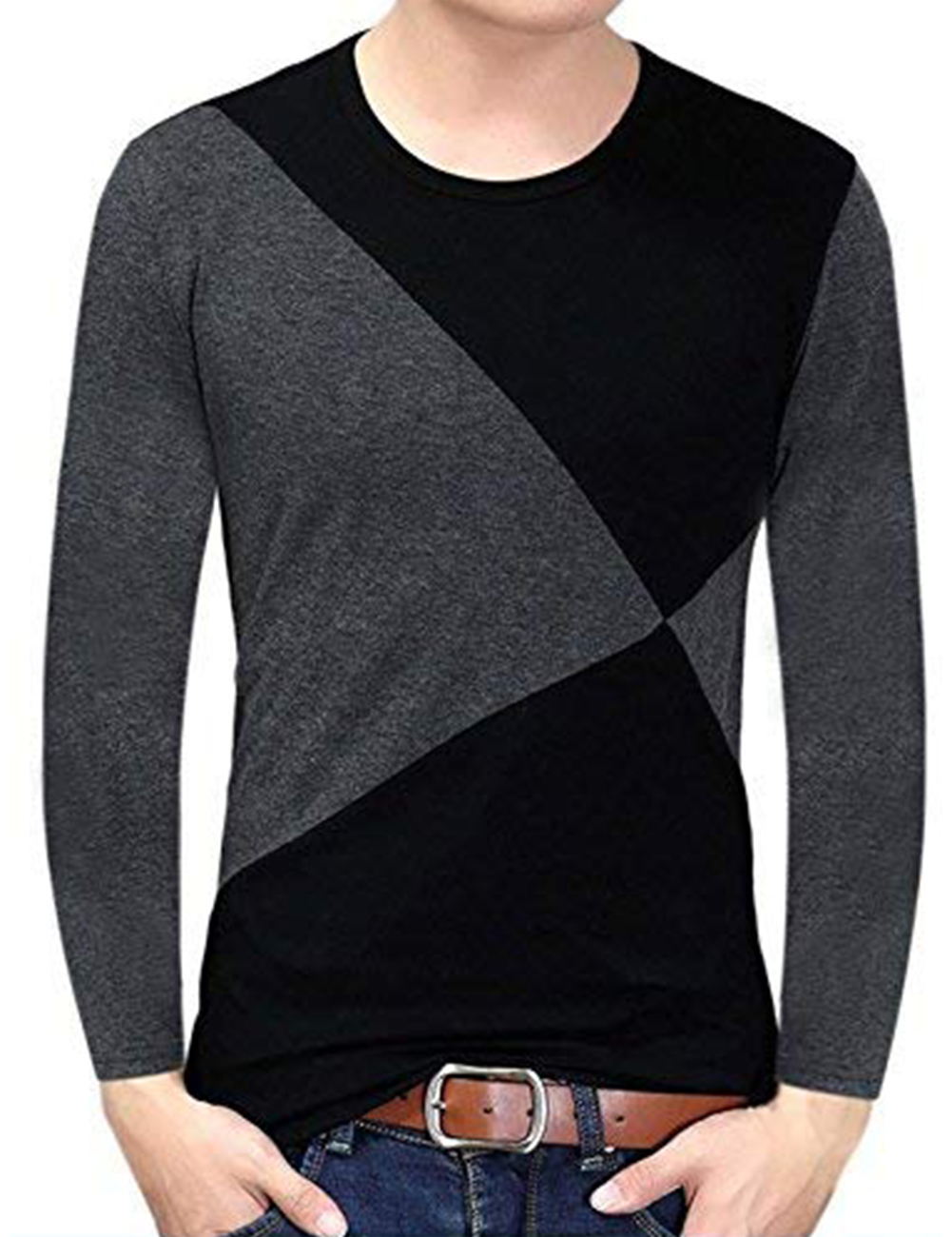 Yong Horse Men's Contrast Color Crew Neck Long Sleeve Basic T-Shirt Top Black-grey_S