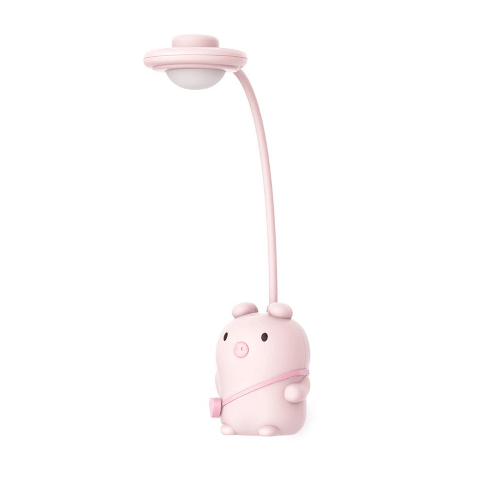 Pet Pig Table Lamp Learning LED Folding USB Charging Child Escritorio Night Light Pink