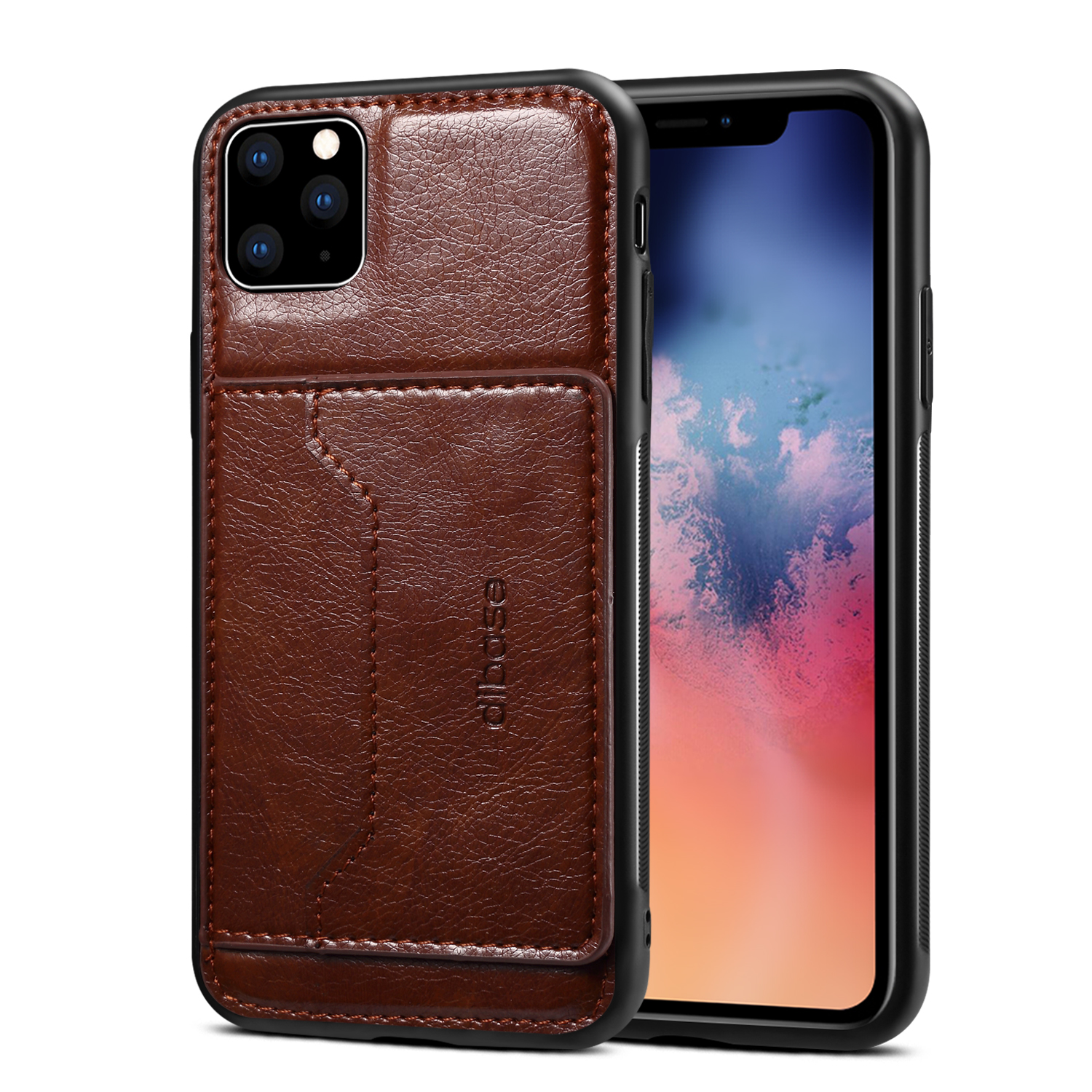 For iPhone 11/11 Pro/11 Pro Max Cellphone Smart Shell 2-in-1 Textured PU Leather Shock-Absorption Anti-Fall Card Holder Stand Function Phone Cover coffee