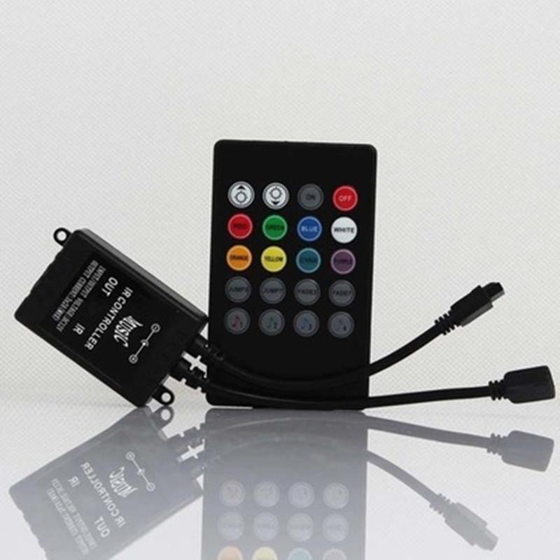 DC12-24V 6A LED 20 Keys RF RGB Music Controller for 3528 5050 LED Strip Light black