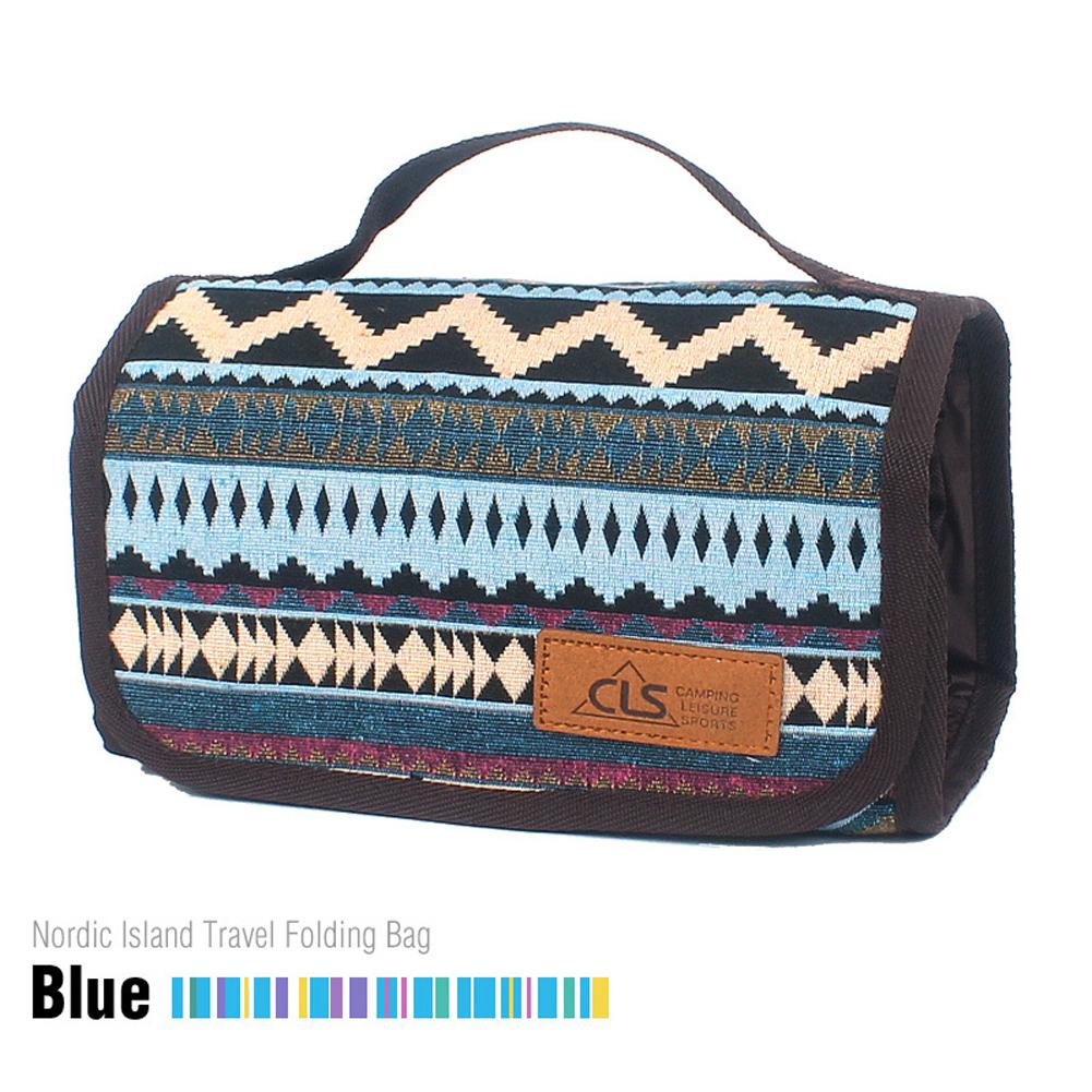 Outdoor Camping Portable Washing Bag Cosmetic Bag Storage Bag Smooth Zipper Fashionable Cotton Linen Mesh Bag Blue stripes