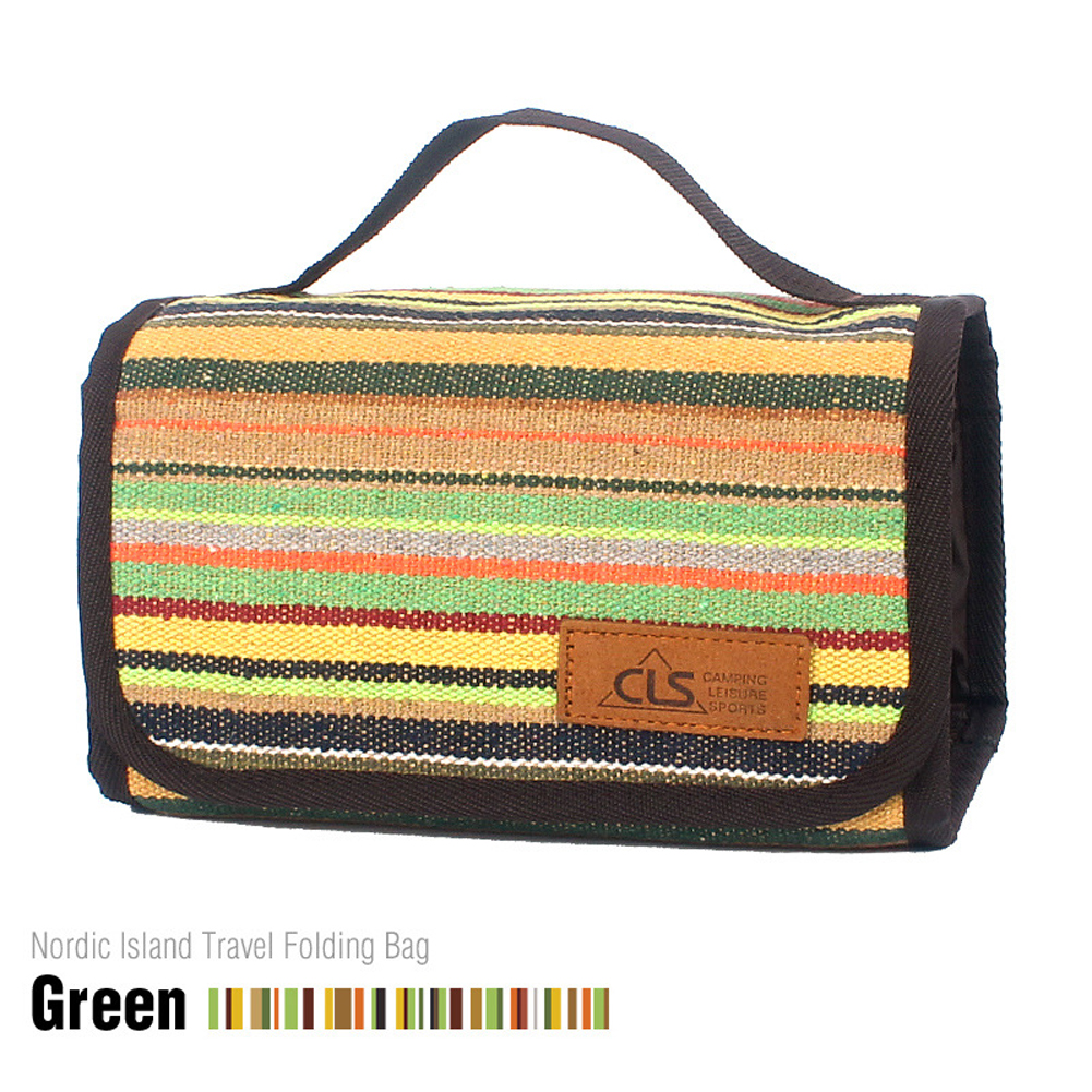 Outdoor Camping Portable Washing Bag Cosmetic Bag Storage Bag Smooth Zipper Fashionable Cotton Linen Mesh Bag Green stripes