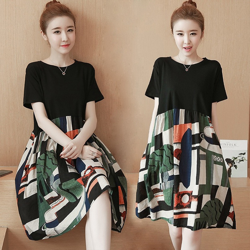 Women Summer Fashion Printing Splice Loose Short Sleeve A-line Dress Photo Color_2XL [58- 65kg]