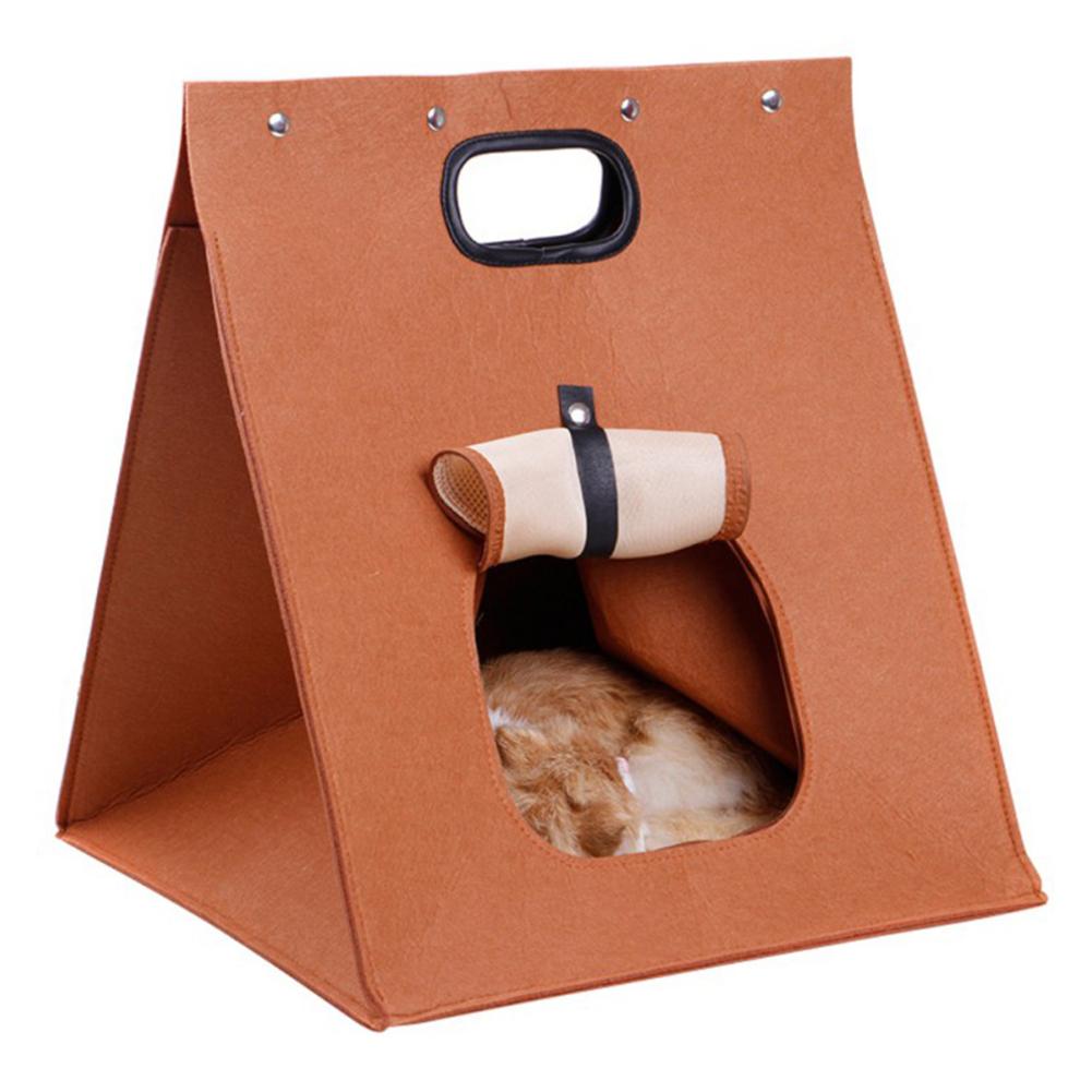 Warm Washable Felt House Animal Cave Nest for Pet Cat Dog Sleeping Chocolate color