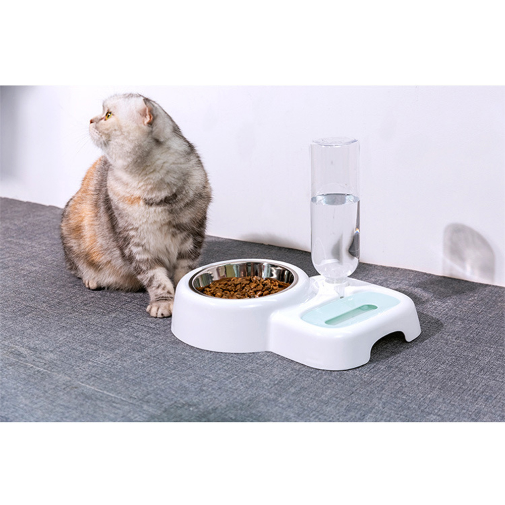 Pet Automatic Water Fountain Food Bowl for Cats Dogs white