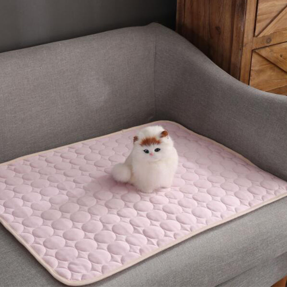 Summer Solid Color Cooling Sleeping Mat for Pet Cats Dogs Nest Pink_62*50cm