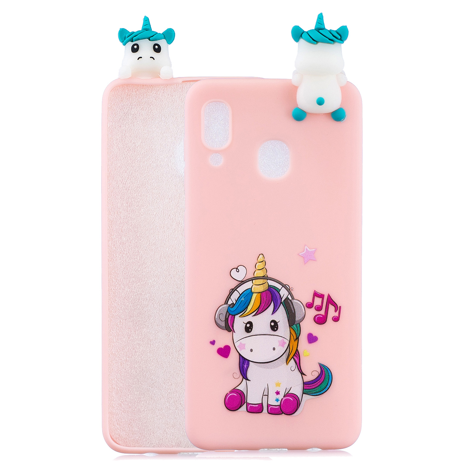 For Samsung A10S A20S Color Painting Pattern Drop Protection Soft TPU Mobile Phone Case+Back Cover Bracket Music unicorn