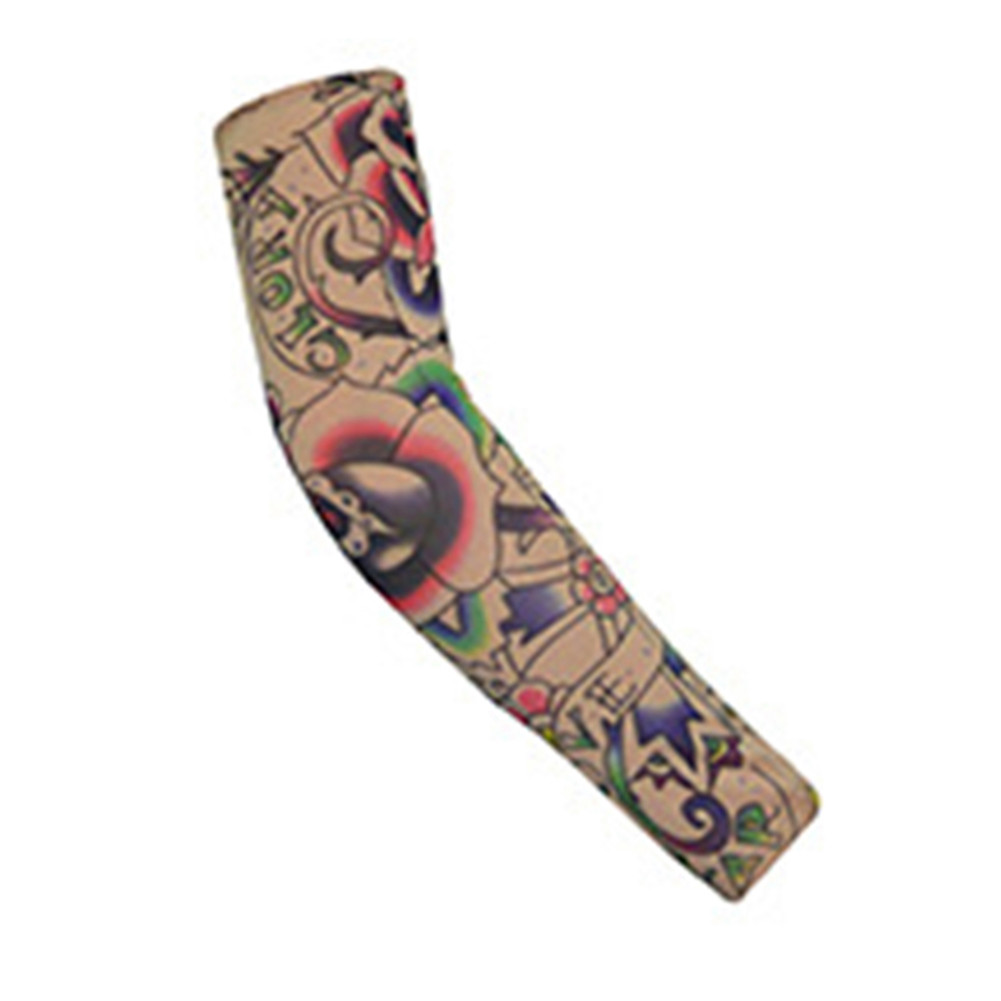 Breathable Tattoo Pattern Cycling Bike Bicycle Arm Warmers Cuff Sleeve Cover UV Sun Protection for Outdoor Activities Random Pattern W-83