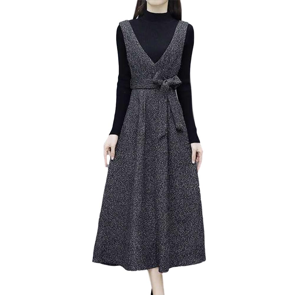 Women's Suit Autumn and Winter Slim Long Velvet Padded Suspender Skirt + Top Dark gray_XXXL