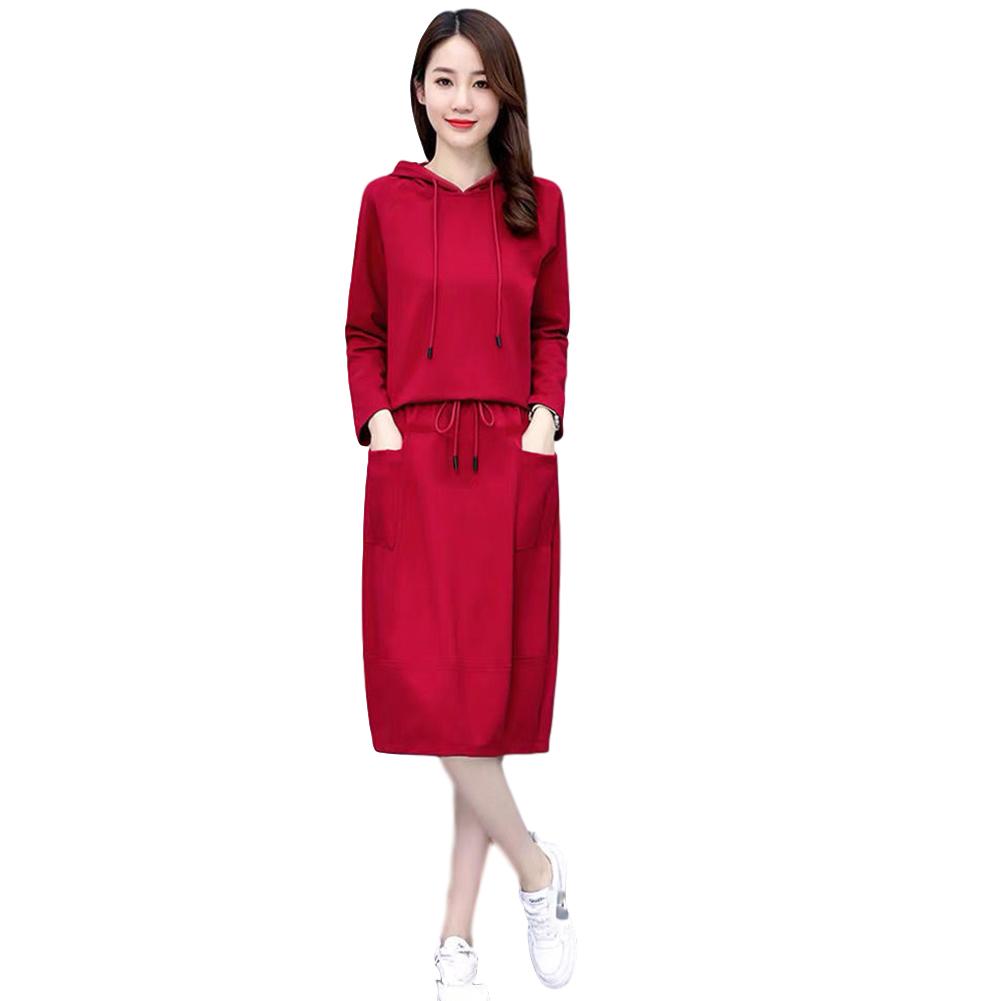 Women's Suit Autumn Winter Plus Size Casual Long-sleeve Top + Dress red_M