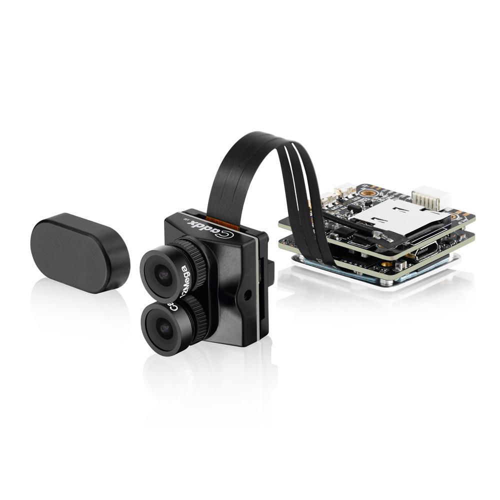 Caddx Tarsier 4K 30fps 1200TVL Dual Lens Super WDR WiFi Mini FPV Camera HD Recording DVR Dual Audio OSD for RC Racing Drone black