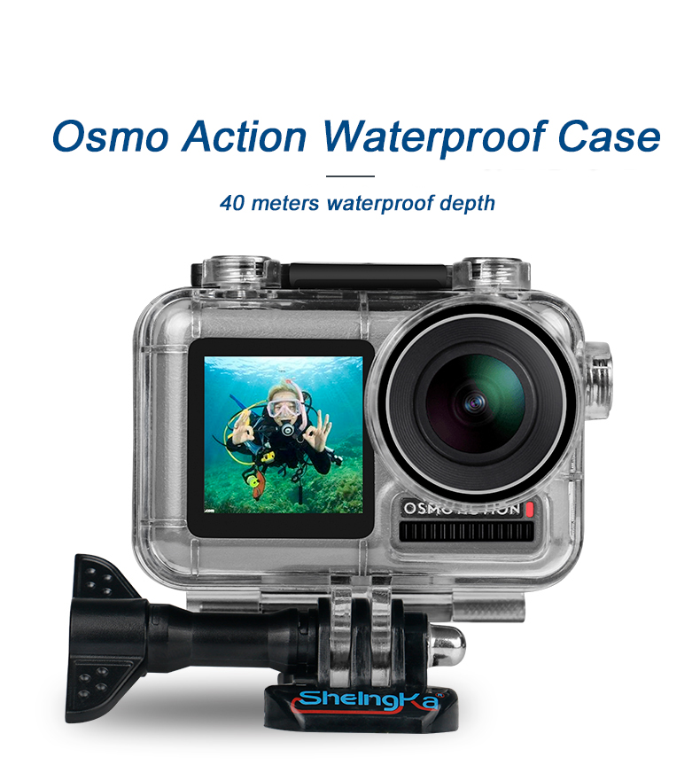 40M Waterproof Case Underwater Diving Protective Cover Housing for DJI Osmo Action Transparent