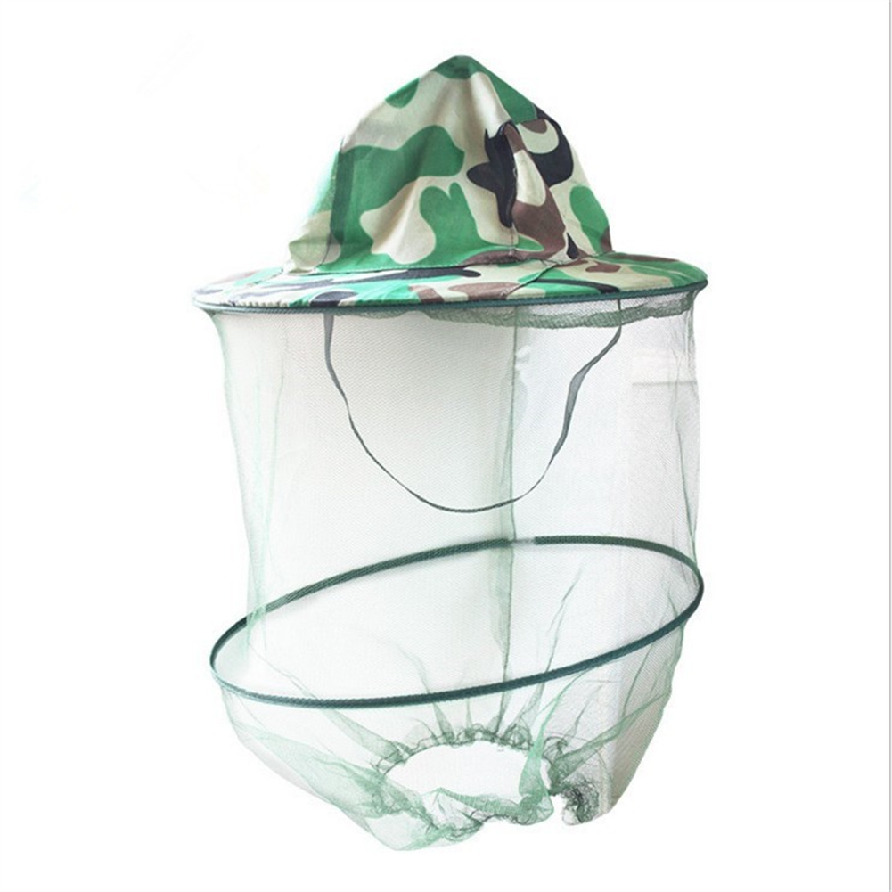 Sunscreen Camouflage  Hat With Mesh For Outdoor Activities Anti Mosquito Bee Head Cover With Net As picture show