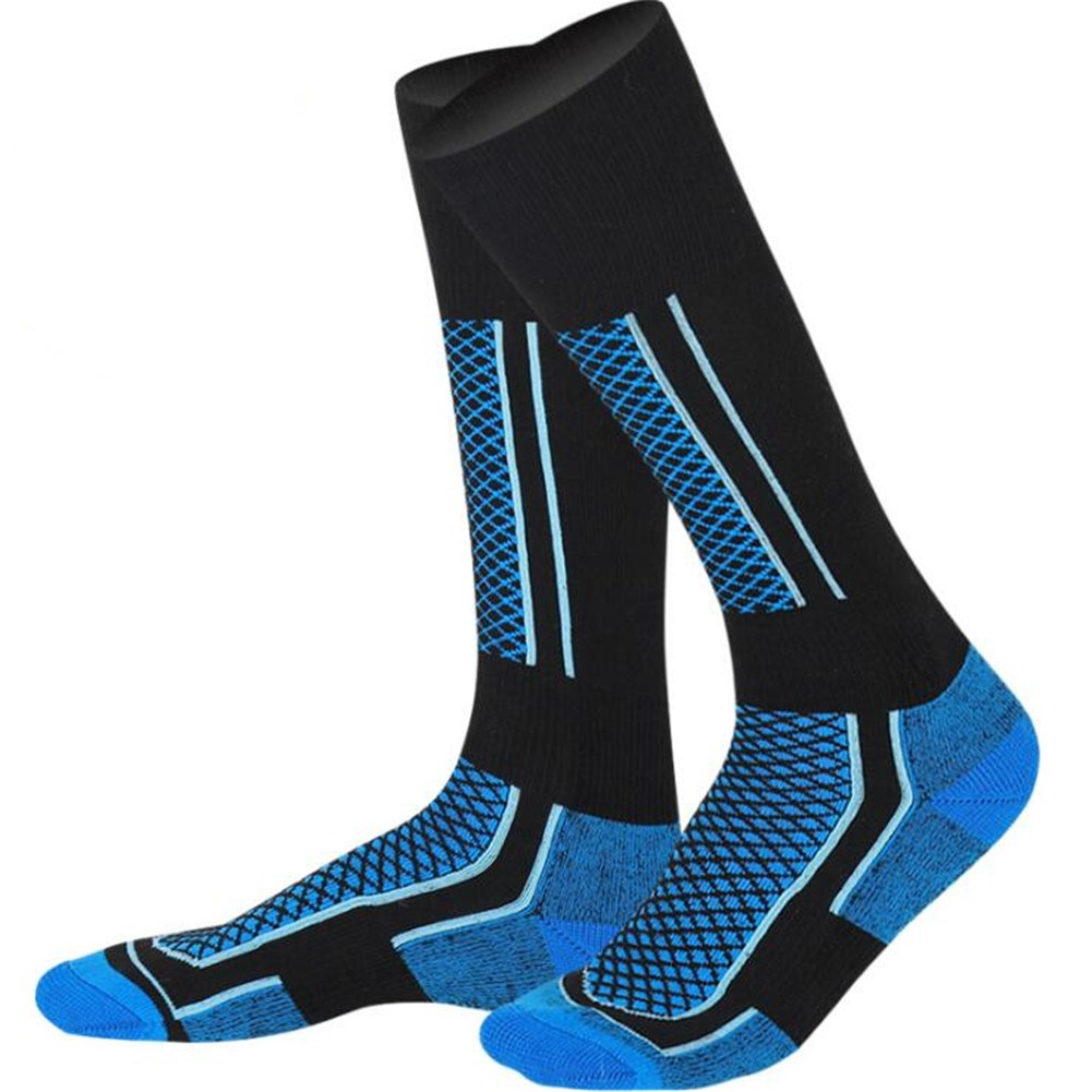 Unisex Winter Thermal Long Ski Snow Walking Hiking Sports Towel Socks Male black blue_One size