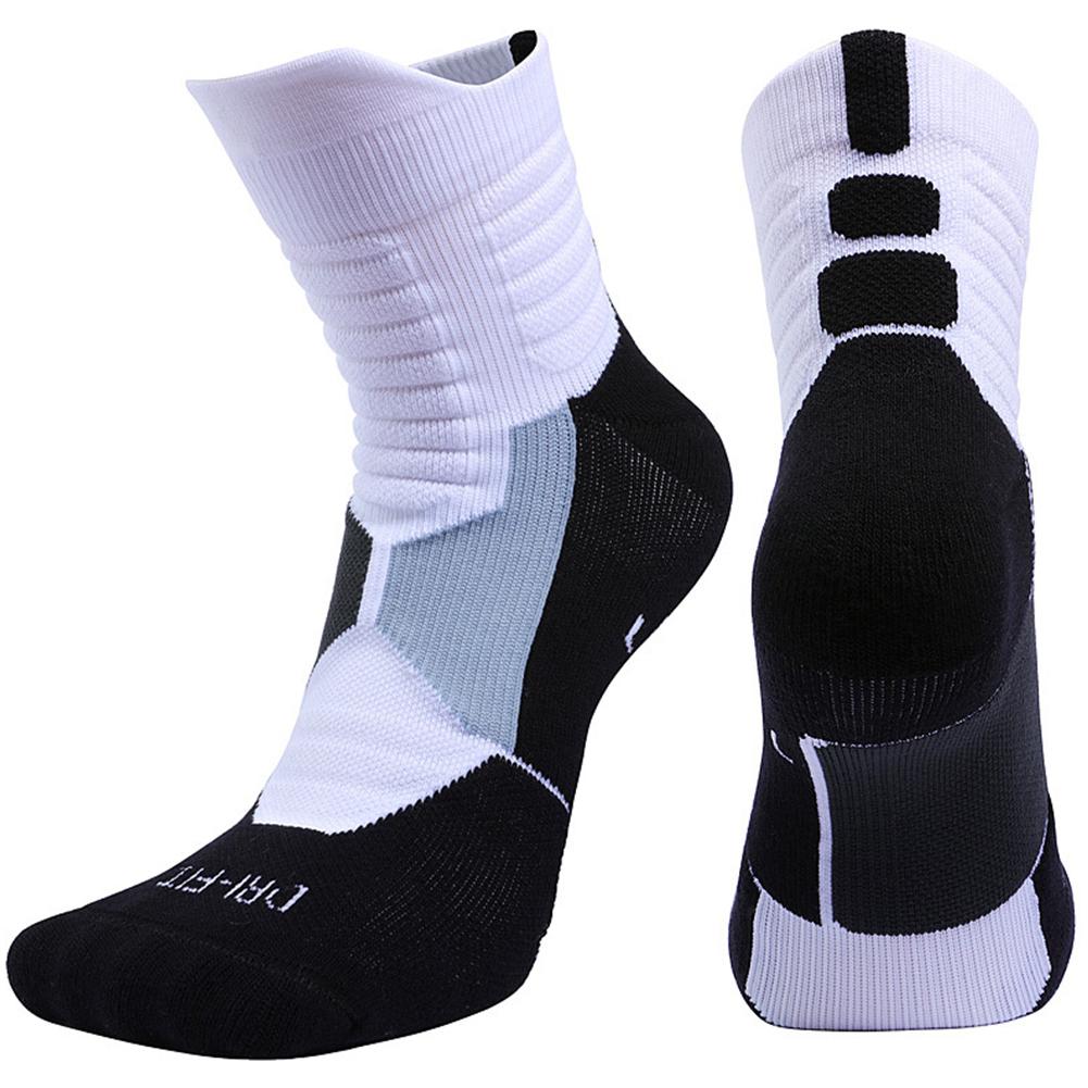 Unisex Professional Deodorant Mid-hose Basketball Sports Socks Stockings white_L[39-42]