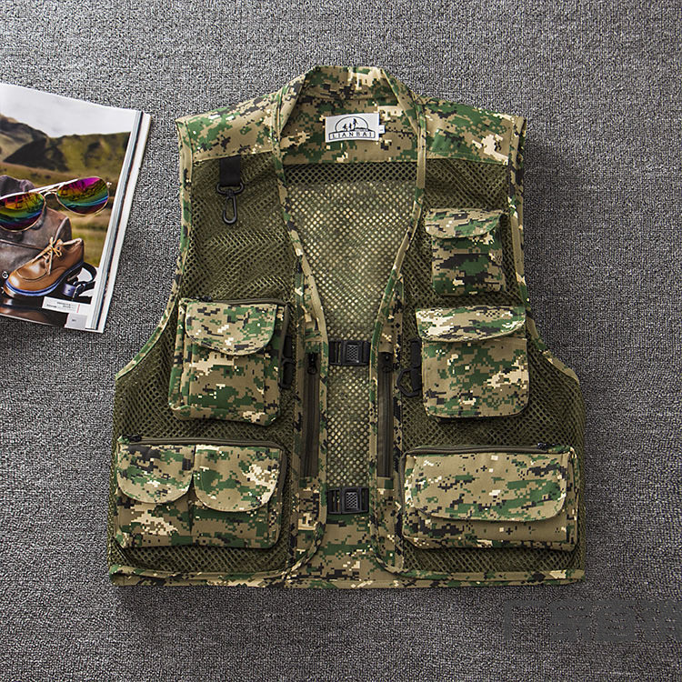 Men Summer Casual Camo Vest Multi-pocket Breathable Mesh Hiking Hunting Vest Professional Photography Jacket Green Camo_M