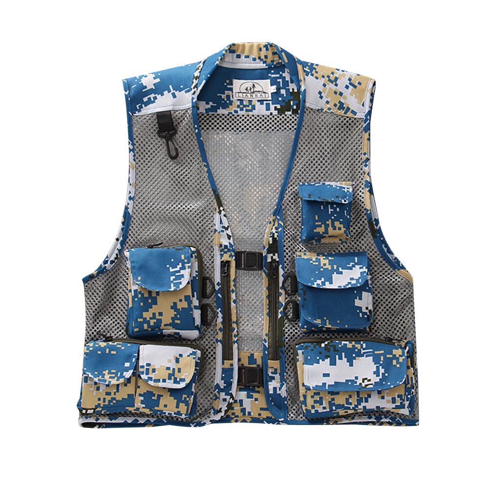 Men Summer Casual Camo Vest Multi-pocket Breathable Mesh Hiking Hunting Vest Professional Photography Jacket Navy blue_L
