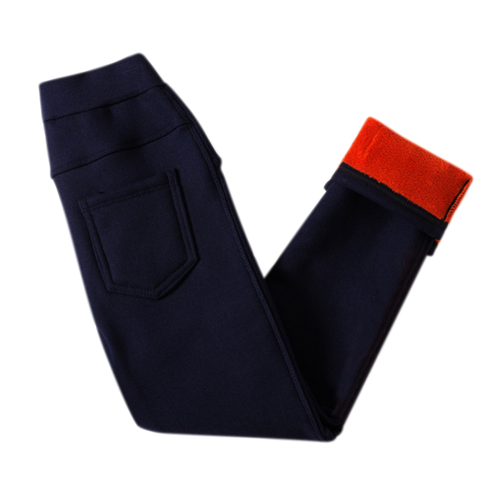 Children Girls Winter Leggings Warm Fleeced Pants Slim Fit Pencil Pants Trousers  Navy_120cm