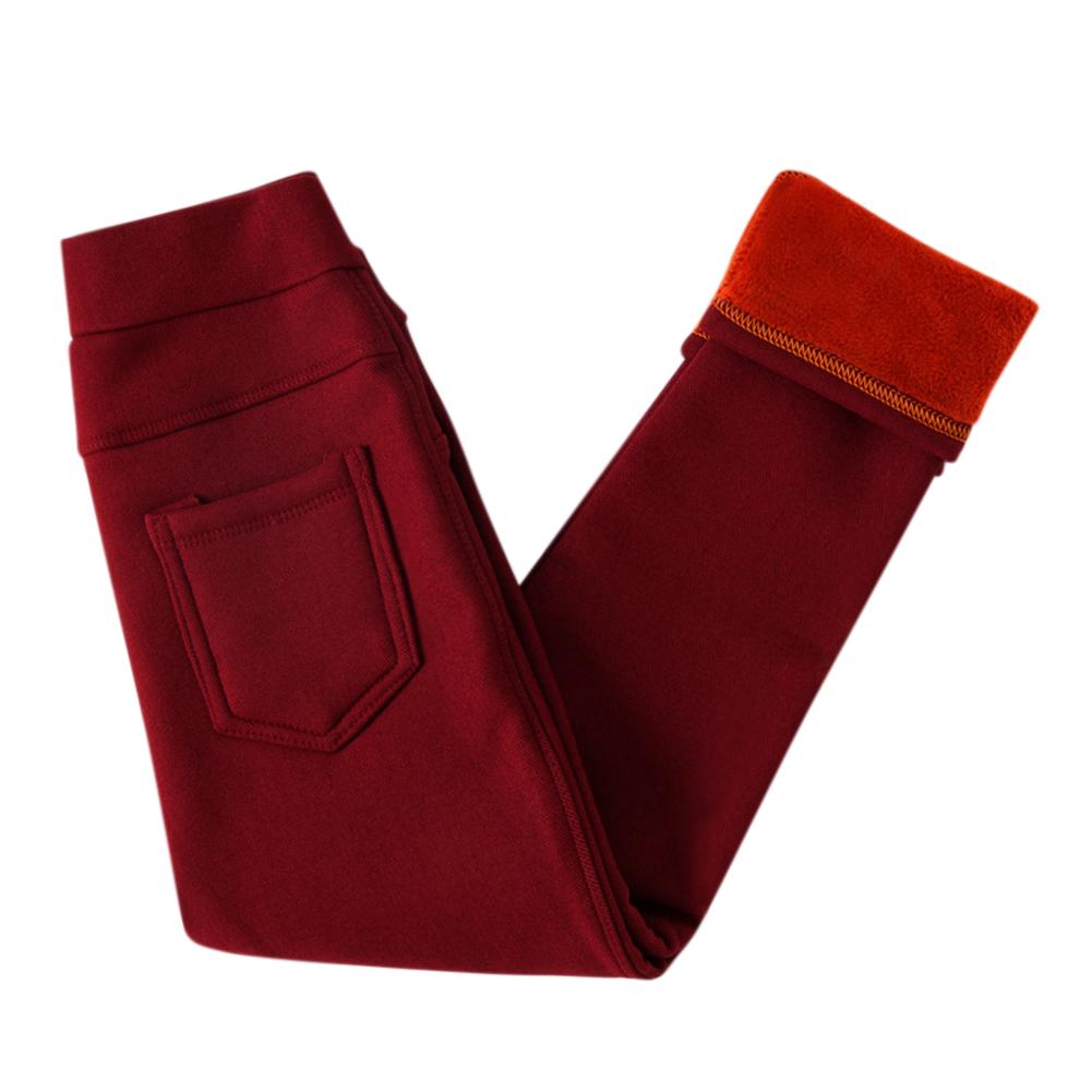 Children Girls Winter Leggings Warm Fleeced Pants Slim Fit Pencil Pants Trousers  Wine red_120cm