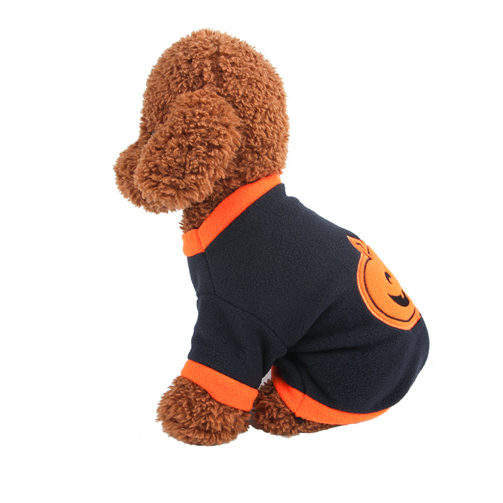 Pet Halloween Pumpkin Clothing Small Dog Clothing Knit Sweater  black_M