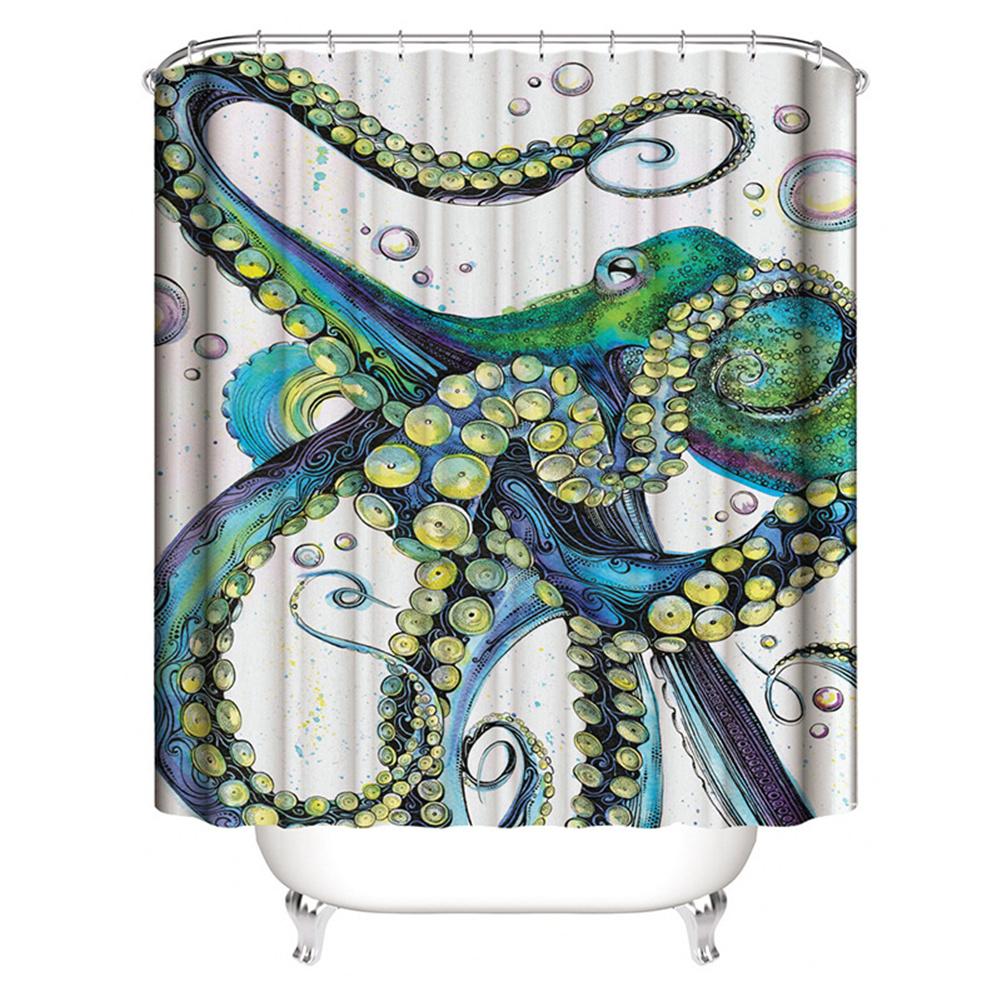 Mermaid Tail Pattern Shower  Curtains Bathroom Waterproof 3d Printing Curtain Blister octopus_180*200cm