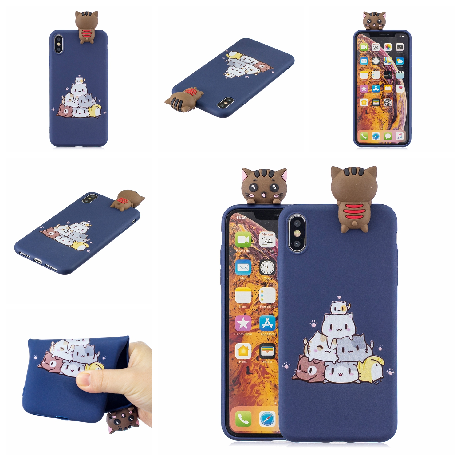 For OPPO F9/F9 PRO/A7 X 3D Cute Coloured Painted Animal TPU Anti-scratch Non-slip Protective Cover Back Case sapphire