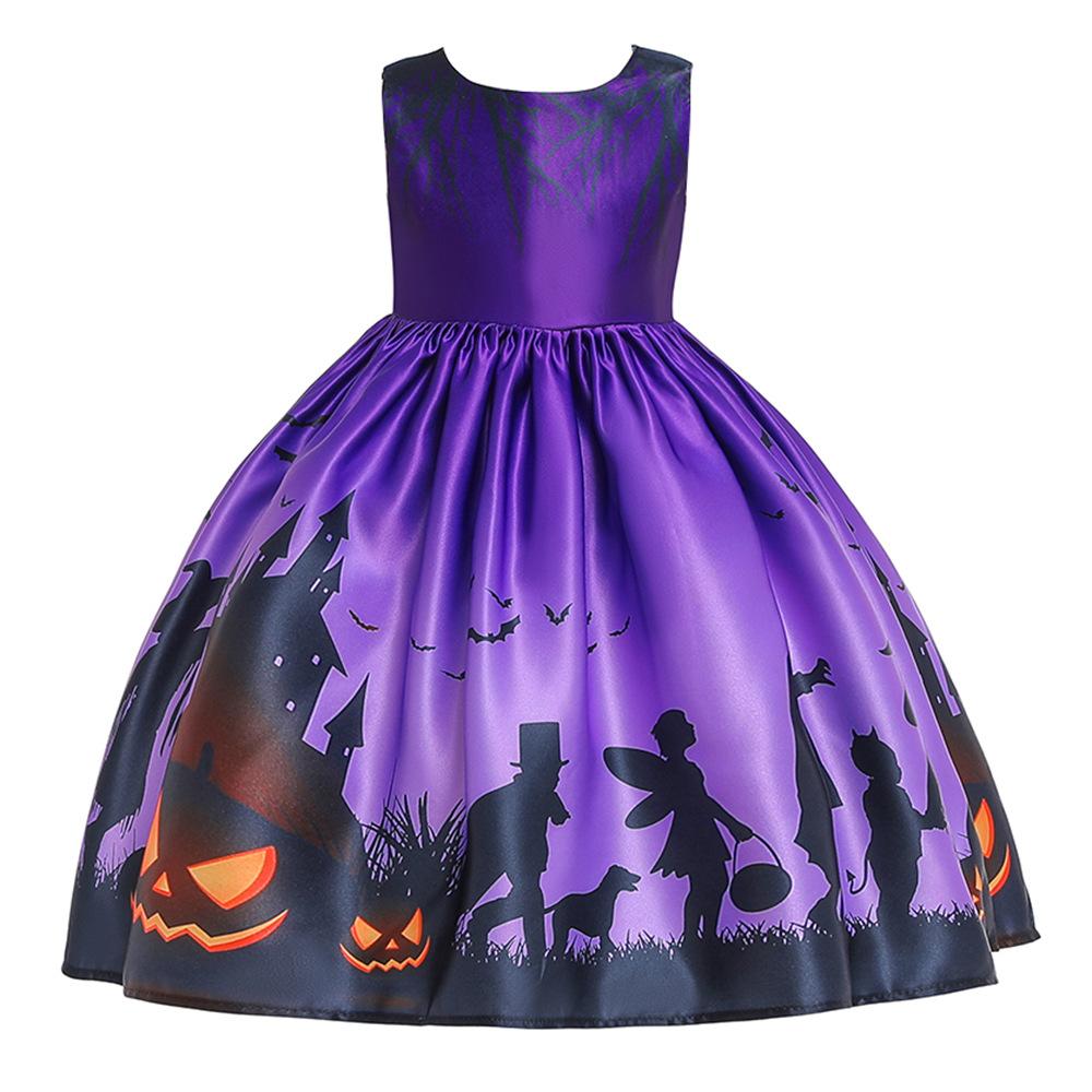Girl Kids Costume Cartoon Pattern Printing Full Dress for Festival Stage Costume WS001-purple_140cm