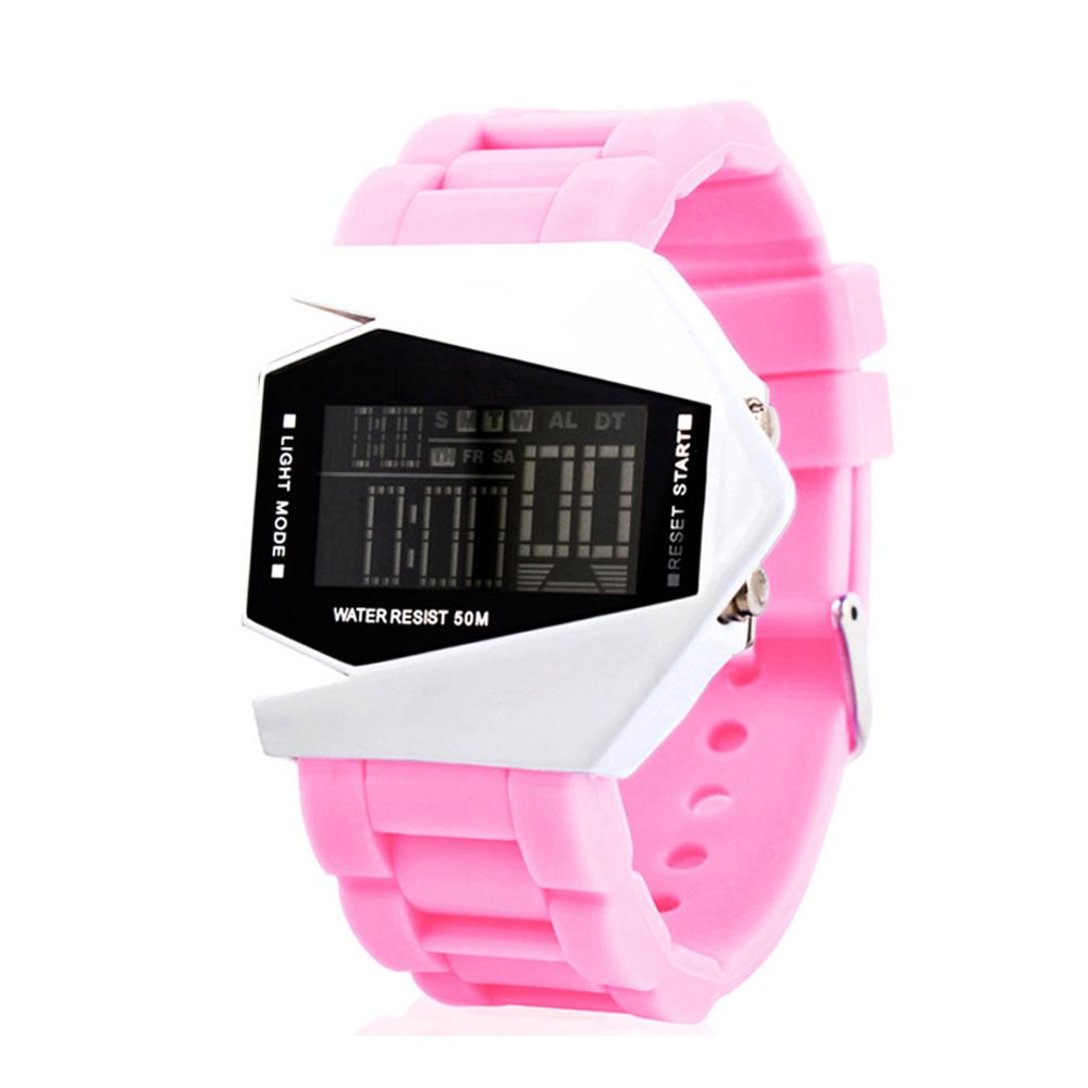 50M Multifunction Wristwatch Men Sport Airplane Design LCD Alarm Men Sport Cuff Watch Band Pink