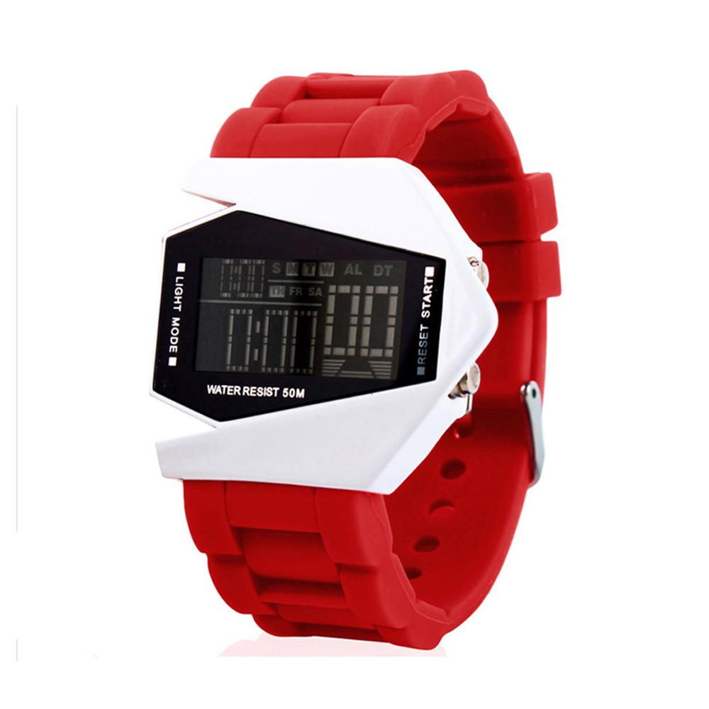 50M Multifunction Wristwatch Men Sport Airplane Design LCD Alarm Men Sport Cuff Watch Band red
